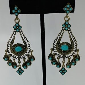 NWT Antique Finish and Turquoise Bead Earrings